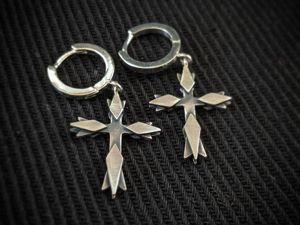 Серьги кольца с крестиками, серебро. Ярмарка Мастеров - ручная работа, handmade.