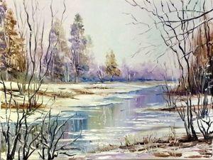 Видеоурок: рисуем зимний пейзаж маслом. Ярмарка Мастеров - ручная работа, handmade.