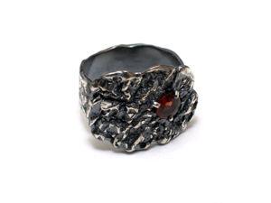 Серебряное кольцо с гранатом. Ярмарка Мастеров - ручная работа, handmade.