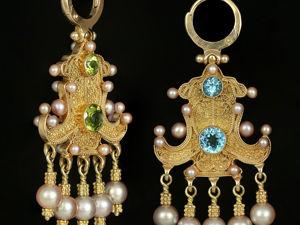 Золотые серьги-голубцы с топазами, хризолитами и жемчугом. Ярмарка Мастеров - ручная работа, handmade.