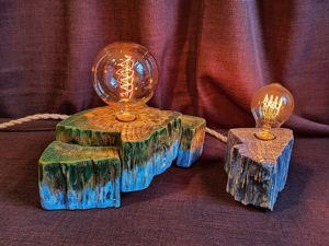 Светильник из спила  «Земля и Луна». Ярмарка Мастеров - ручная работа, handmade.