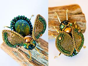 Очаровательный жучок с подвижными крылышками: делаем оригинальную брошь. Ярмарка Мастеров - ручная работа, handmade.