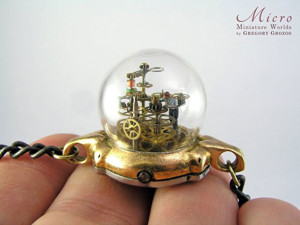 Wondrous Tiny Universe In Pocket Watch: 20 Miniature Works By Greek master Gregory Grozos. Livemaster - handmade