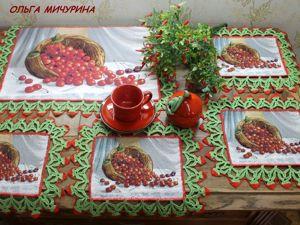 Комплекты столовых салфеток ручной работы с гобеленовыми вставками. Ярмарка Мастеров - ручная работа, handmade.