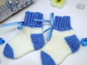 Вяжем носки на ребенка крючком/ Видео мастер-класс. Ярмарка Мастеров - ручная работа, handmade.
