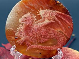 Картина на камне — панно  « Красный дракон»  тотем. Ярмарка Мастеров - ручная работа, handmade.
