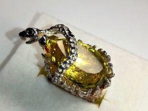 Видео! Кольцо  «Полоз»  с природным цитрином. Ярмарка Мастеров - ручная работа, handmade.