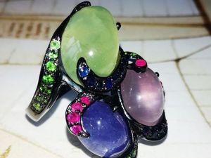 Сейчас со скидкой! Кольцо  «Три желания»  с танзанитом, пренитом и розовым кварем. Ярмарка Мастеров - ручная работа, handmade.