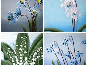 Интерьерные авторские картины с нежными весенними цветами, холст 100% лён!. Ярмарка Мастеров - ручная работа, handmade.