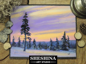 Video Tutorial: Dry Pastel Winter Landscape. Livemaster - handmade
