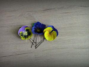 Создаем шпильки из фоамирана «Анютины глазки». Ярмарка Мастеров - ручная работа, handmade.