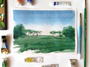 Рисуем летний пейзаж акварелью. Ярмарка Мастеров - ручная работа, handmade.