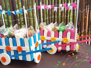 Мастерим тележку для сладостей из палочек от мороженого. Ярмарка Мастеров - ручная работа, handmade.