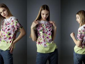 Сакура в цвету Шелковая блузка с принтом ручной работы. Ярмарка Мастеров - ручная работа, handmade.