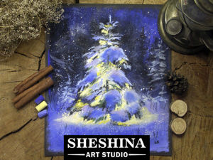 Video Tutorial: Drawing a Christmas Tree with Dry Pastel Crayons. Livemaster - handmade