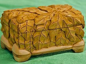 """Изготовление шкатулки из липы с резьбой по дереву """"Дубовые листья"""".. Ярмарка Мастеров - ручная работа, handmade."""