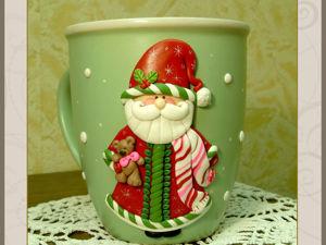Кружка с декором «Дед Мороз». Ярмарка Мастеров - ручная работа, handmade.