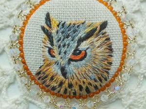 Вышиваем брошь «Филин». Часть 1. Ярмарка Мастеров - ручная работа, handmade.