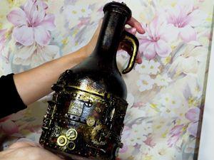 Декорируем бутылку в стиле стимпанк полимерной глиной. Ярмарка Мастеров - ручная работа, handmade.