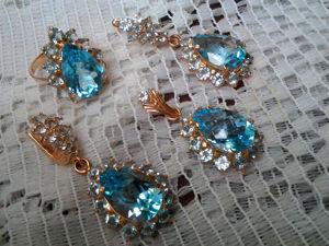 Видео : Комплект  «Груша» ,золото,голубые топазы. Ярмарка Мастеров - ручная работа, handmade.
