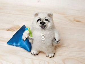 Валяем белого медвежонка: видео мастер-класс. Ярмарка Мастеров - ручная работа, handmade.