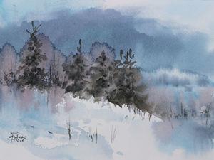 Создание акварельного скетча «Зимний пейзаж». Ярмарка Мастеров - ручная работа, handmade.