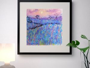 Drawing Flower Field with Oil Pastel. Livemaster - handmade