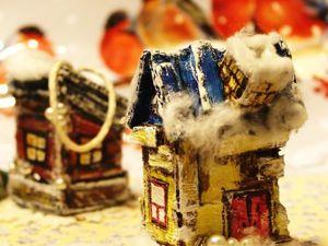 Мастерим быстро и просто маленький новогодний домик из картона. Ярмарка Мастеров - ручная работа, handmade.