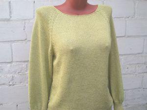 Пуловер салатово-лимонный из хлопка и вискозы. Ярмарка Мастеров - ручная работа, handmade.