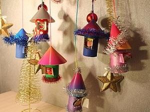 """Подвески""""Новогодние домишки"""". Ярмарка Мастеров - ручная работа, handmade."""
