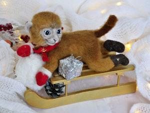 Новый год к нам мчится. На санках обезьянка, видео + больше фото. Ярмарка Мастеров - ручная работа, handmade.