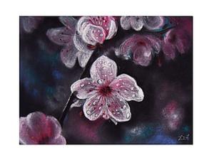 Цветущая вишня в технике сухая пастель. Ярмарка Мастеров - ручная работа, handmade.