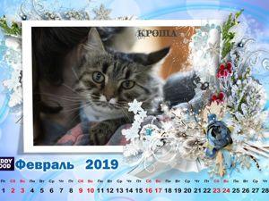Кошачий календарь Февраль. 19г. Ярмарка Мастеров - ручная работа, handmade.
