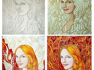 Рисуем картину в смешанной технике: портрет гуашью и витражная роспись. Ярмарка Мастеров - ручная работа, handmade.