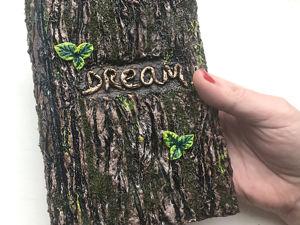 Декор блокнота массой папье-маше. Имитация коры дерева. Ярмарка Мастеров - ручная работа, handmade.