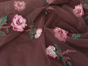 Сетка стрейч с вышивкой «Розы». Ярмарка Мастеров - ручная работа, handmade.
