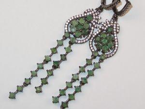 Серьги с изумрудом серебряные. Ярмарка Мастеров - ручная работа, handmade.