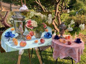 Новая картина с русским самоваром  «Чаепитие в саду». Ярмарка Мастеров - ручная работа, handmade.