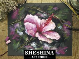 Рисуем цветок Гибискуса сухой пастелью. Ярмарка Мастеров - ручная работа, handmade.