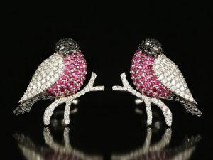 Золотые серьги-снегири с бриллиантами и рубинами. Ярмарка Мастеров - ручная работа, handmade.
