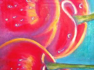 Видео мастер-класс: роспись салфетки «Спелые вишни». Ярмарка Мастеров - ручная работа, handmade.