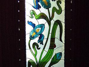 Ирисы в стиле модерн. Витражная роспись двери.. Ярмарка Мастеров - ручная работа, handmade.