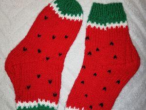 Мастер-класс: детские носочки «Арбузики». Ярмарка Мастеров - ручная работа, handmade.
