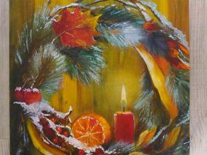Картина  «Рождественский венок». Ярмарка Мастеров - ручная работа, handmade.