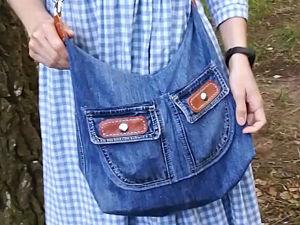 Сумка из джинсов без выкройки за 2 часа. Ярмарка Мастеров - ручная работа, handmade.