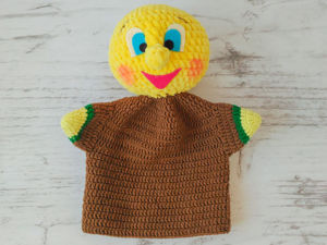 Вяжем куклу-перчатку «Колобок». Ярмарка Мастеров - ручная работа, handmade.