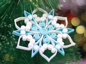 Видео мастер-класс: делаем снежинку на новогоднюю ёлку. Ярмарка Мастеров - ручная работа, handmade.