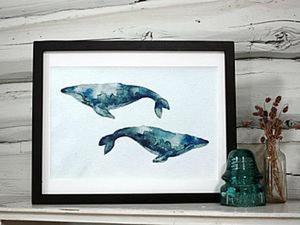Современная акварель для начинающих: учимся рисовать китов. Ярмарка Мастеров - ручная работа, handmade.