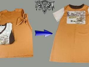 Перешиваем тунику в стильное детское платье. Ярмарка Мастеров - ручная работа, handmade.