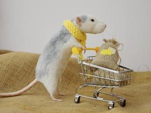 Жизнь замечательных мышей: валяные грызуны ходят в магазин, занимаются спортом и фотографируются. Ярмарка Мастеров - ручная работа, handmade.